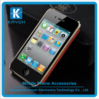 [kayoh] Business Style Metal Frame Luxury Back Cover Cross Pattern PU Leather Case for iphone 6