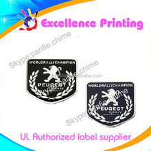 high quality hot sale self adhesive peugeot car logo stickers