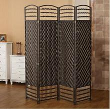 Woven Black Folding Room Partitions Kitchen Panel Screen Divider