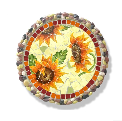 Ceramics Mosaic Stepping Stone, American Country Style Garden Sunflowers Paving Stone (BF01-P1003)