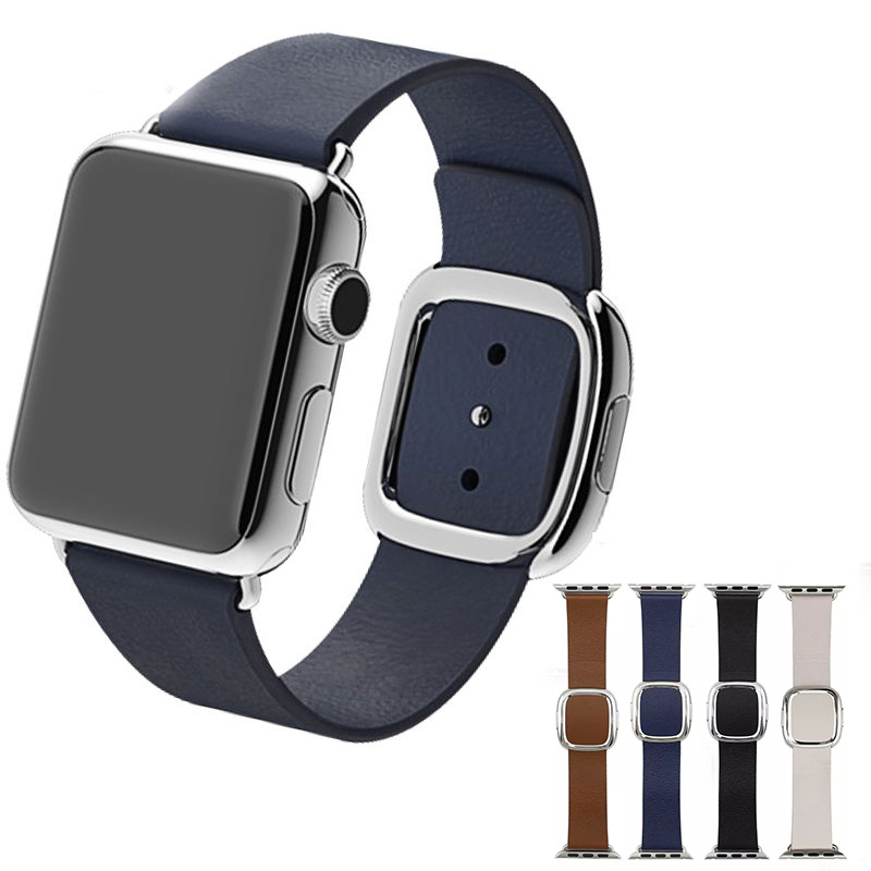 High Quality Modern Style Genuine Leather Watch Band Strap for Apple Watch with Magnetic Buckle Closure