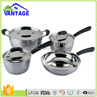 Customized pots with attached saucer stainless stock pot technique cookware