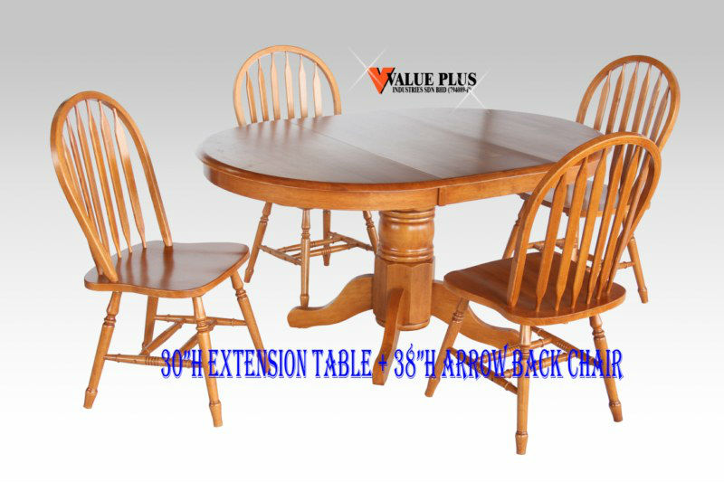 "30""H EXTENSION TABLE + 38""H ARROW BACK CHAIR"