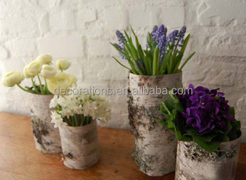 birch bark cylindrical flower holder for home decoration