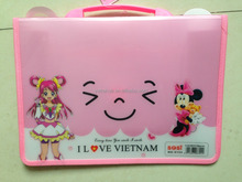 Customized cartton design PP clip file box with handle file bag