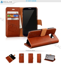 Brown PU leather case for samsung galaxy s7 edge smartphone