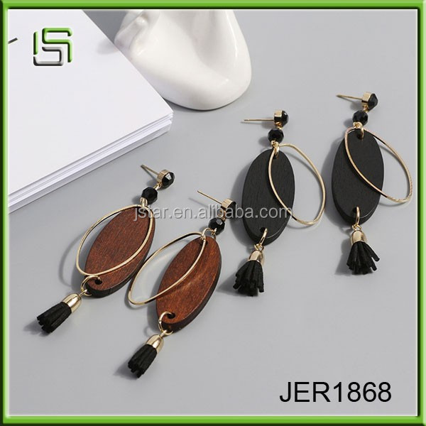 Ladies earrings designs pictures wooden pendant and tassel jewelry earrings