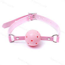 Fetish Ball gags cuero suave boca o-ring Lock arnés intimate Sex Toy