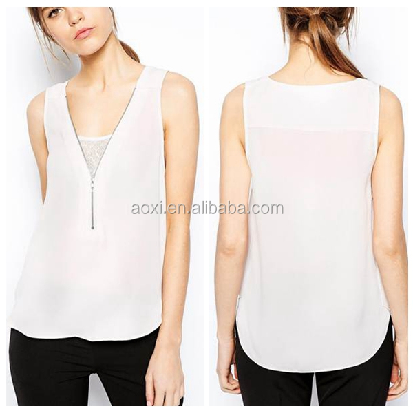White v-neck front zipper tops simple style trender sleeveless fashion women tops 2014