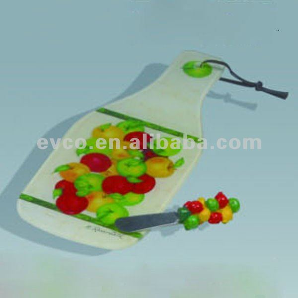 Tempered Glass Cheese Board w/Spreader - Apple Orchard Collection