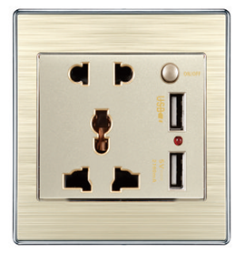 PC Material Most Popular UL Listed EU UK US AU wall socket outlet with 2 USB