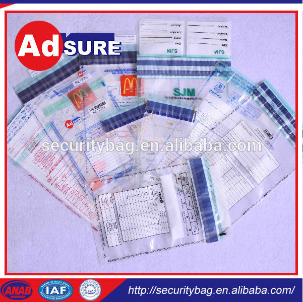 autoclavable bag/plastic tamper proof security bag a4 size/envelope with tear-strip