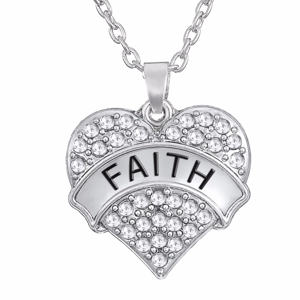 Lead And Nickle Free Silver Faith Pave Heart Pendant Necklace Clear Crystal Rhinestone Necklace