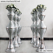 2017 latest luxury wedding bling mirror surface glass fiber vase column pillar for wedding,hotel,party decoration (VS-182M)
