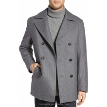 made to measure classic woolen winter coat double breasted grey coat for men