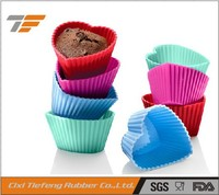 Heart shape silicone teacup cupcake molds
