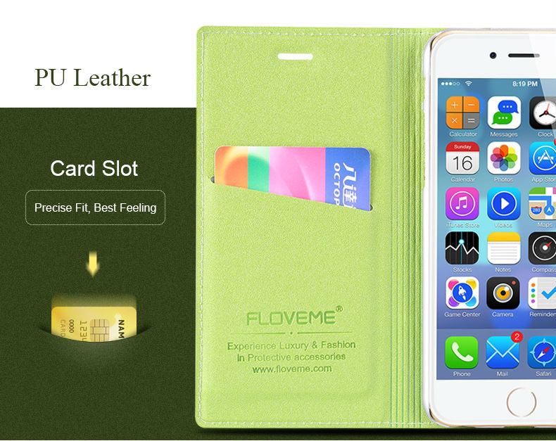 FLOVEME Leather Belt Clip Holster Pouch Case, Magnetic Leather Case For IPhone 6, Flip Case For IPhone 6