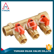 TMOK brass 3 way manifold and brass color and thread material Hpb57-3 and CE cetificate