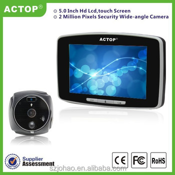 ACTOP hotsale 5 inch touch screen picture and video recording GSM digital 5inch door viewer