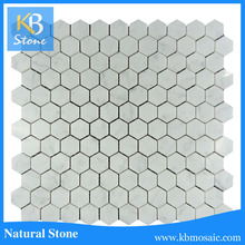 carara marble beehive tile backsplash kitchen