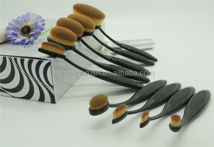 Plastic Handle 9pcs Tooth Shaped Foundation Makeup Brushes