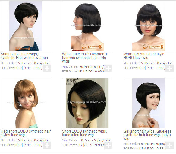 Short black bob wigs, machine made heat resistant fiber wigs
