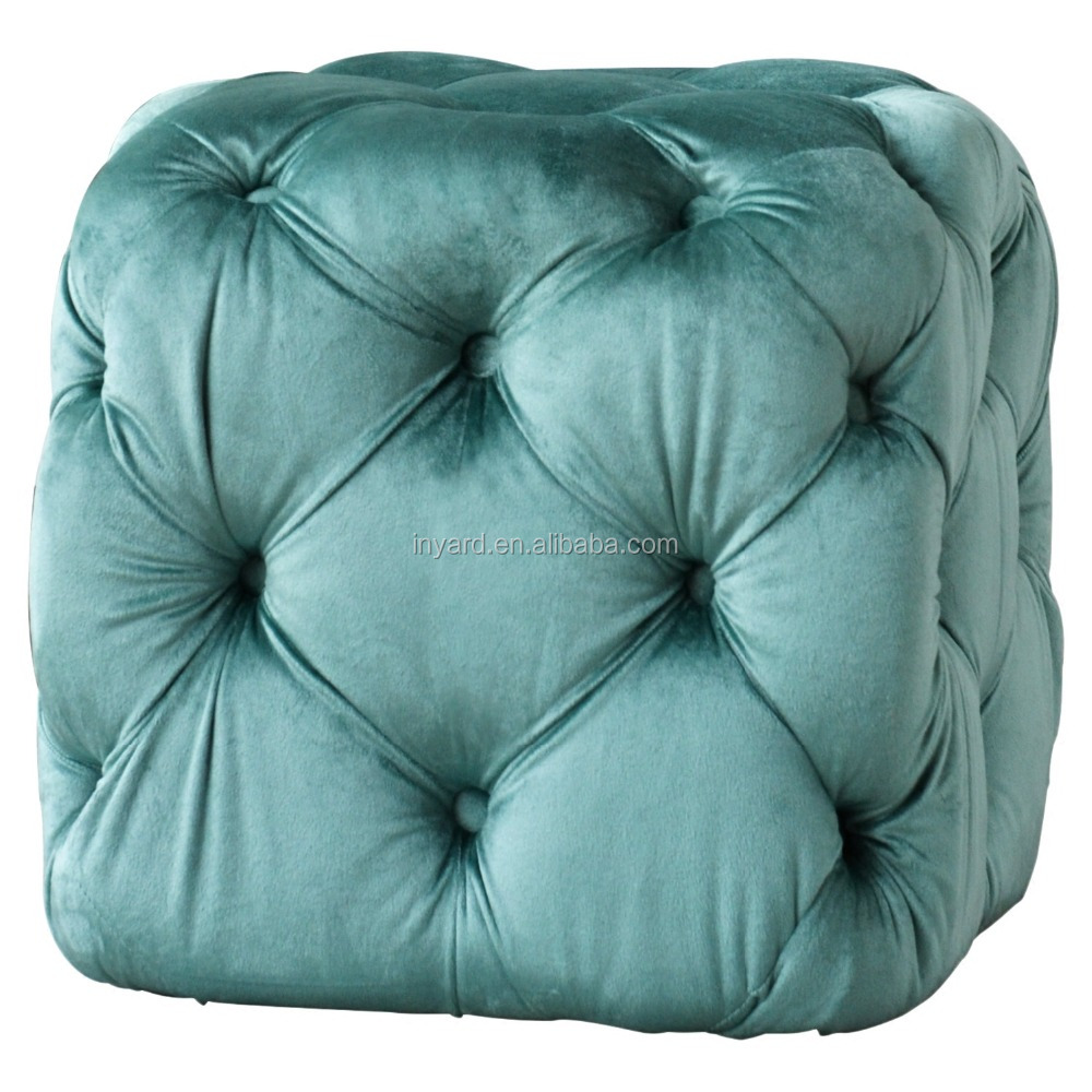 Uneven Best-selling square velvet Pouffe Chair Ottoman low foot stool