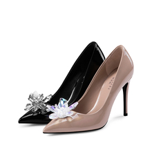 D497 stiletto patent leather crystal decoration women high heel pumps shoes