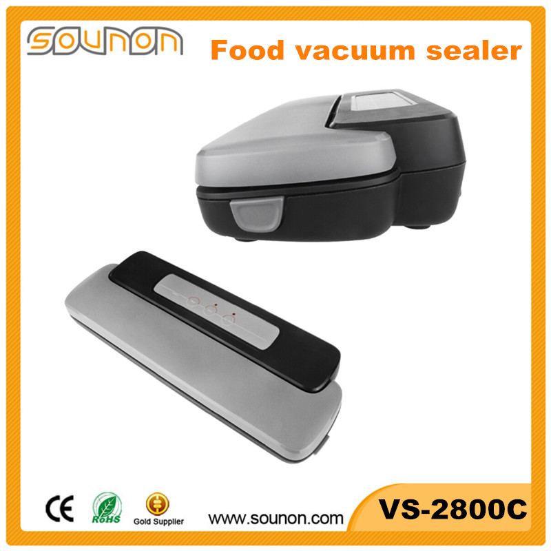 Portable hand held plastic bag food vacuum sealer