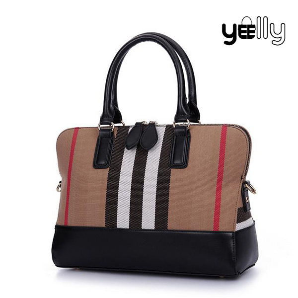 Contracted Personality Stripe PU Leather Canvas Splicing Bags Handbag Factory