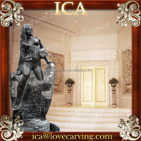 Indoor decoration marble polished stone statues fountain