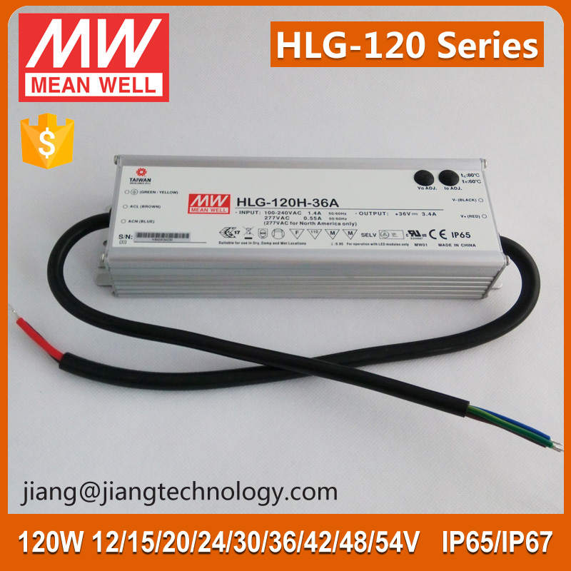 120W 20V 6A IP65 LED Driver HLG-120H-20 Meanwell Constant Voltage Dimmable LED Driver