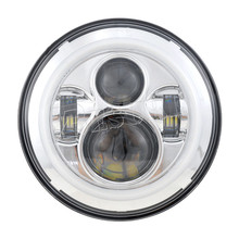 "Wholesale Promotion Angel Eye 40W LED Work Light 7"" Inch 12V 24V Motorcycle Accessiories Round LED Head Lamp With Halo Rings"