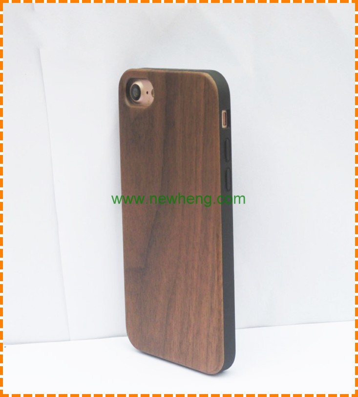 New Style Handmade Natural Solid Wood bamboo tpu hybrid back cover case for Iphone 7 plus
