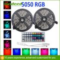 Supper bright 5M SMD 5050 RGB LED Flexible Strip Light Kit 300LEDs with 24 44Keys IR Remote Controller DC 12V Power Supply