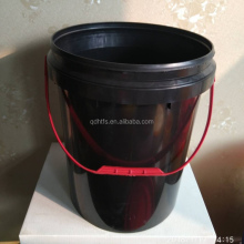 Hot Sale! 20L black plastic pail 5 Gallon plastic buckets with red handle and lid