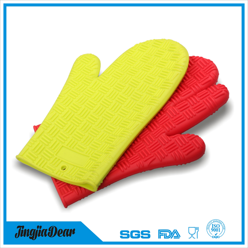 Wholesaler colorful long silicone oven mitts/ heat protective glove with cotton