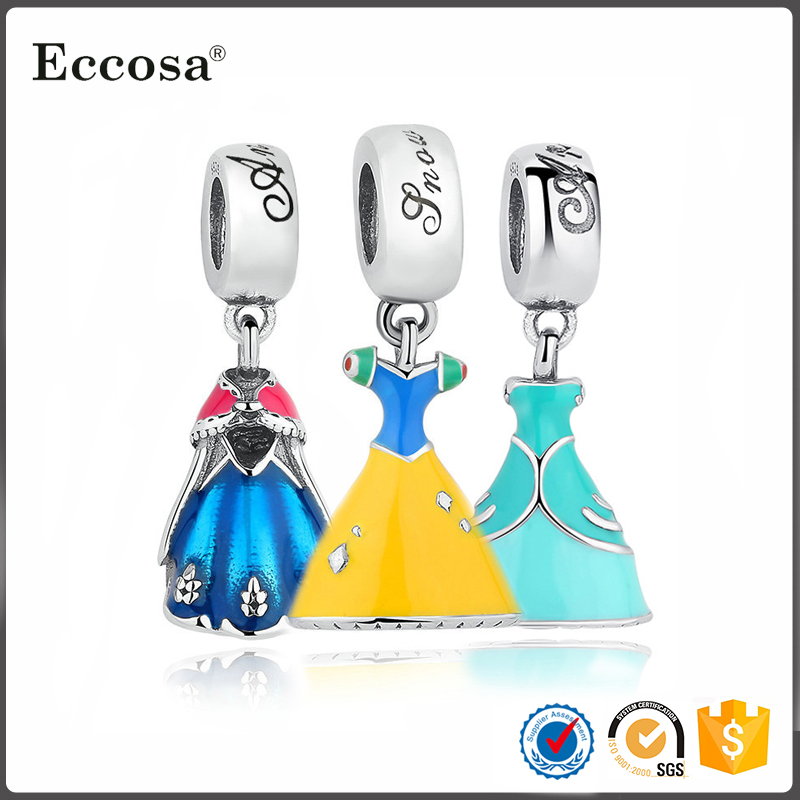 Wholesale 925 Sterling Silver Snow White Dress Dangle Charms And Pendants