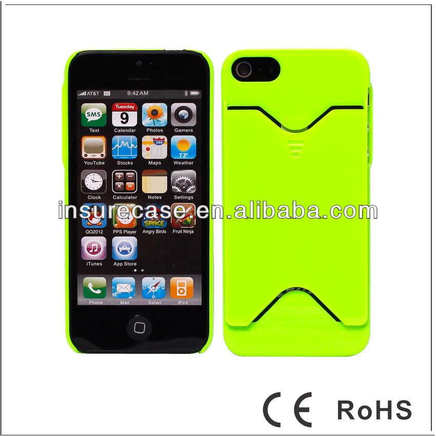 New Wholesale Green Hard Rubberized Matte Credit ID Cell phone case card holder for iphone 5G