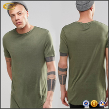 Ecoach wholesale Longline T-Shirt mens green crew neck custom Bamboo t shirt