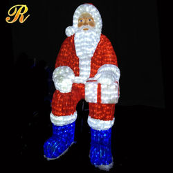 Christmas decorations lighted led acrylic light outdoor sitting santa
