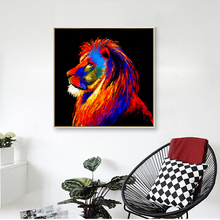 modern wall decor art semi abstract animal Colorful lion painting print on canvas