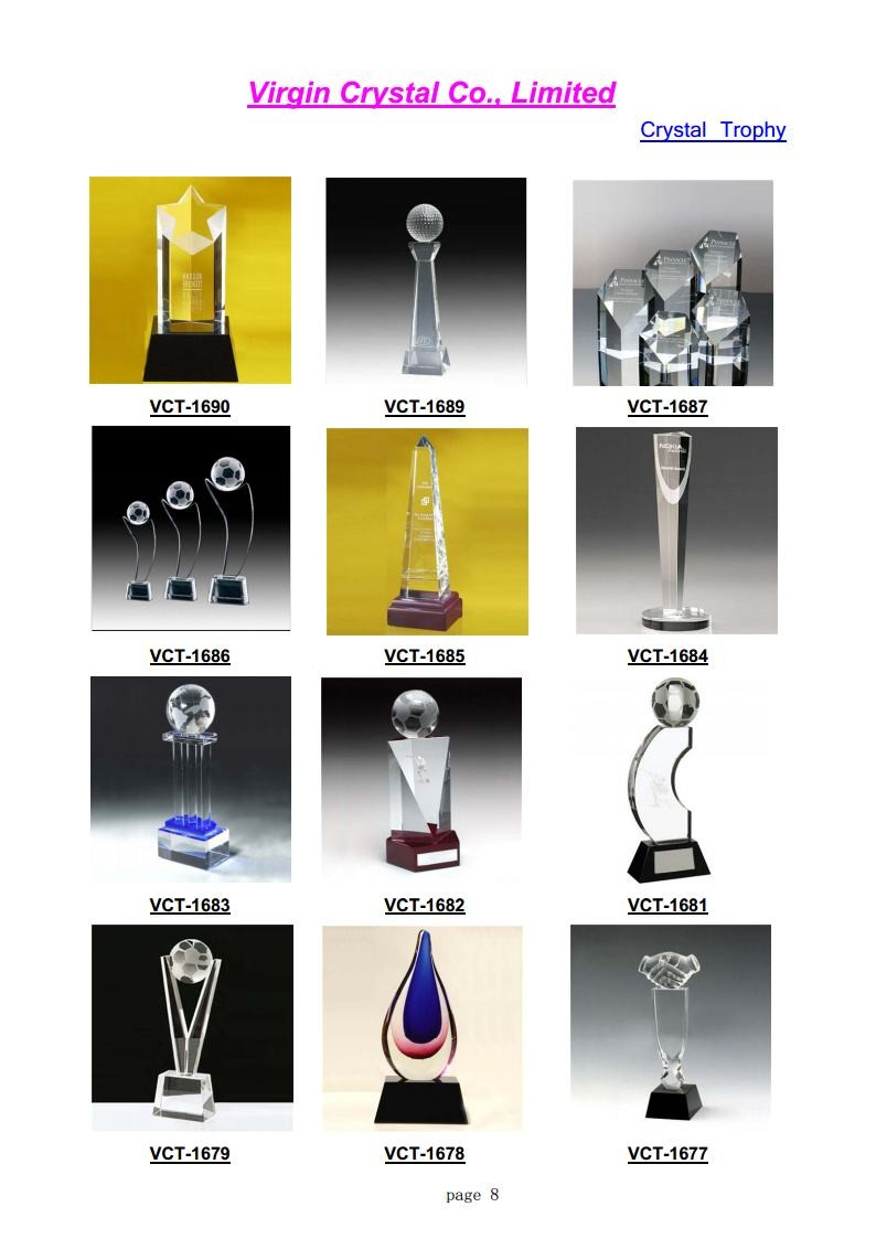 Factory Crystal Tower Shape Crystal golf Ball And Crystal Soccer Trophy