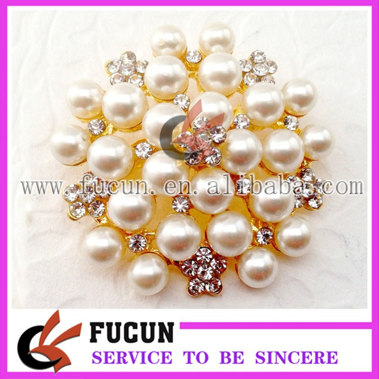 45mm wedding celebration invitation decoration crystal rhinestone pearl brooch pin