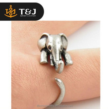 Hot sales Bronze silver plated Adjustable Elephant Animal Wrap Ring For Girls