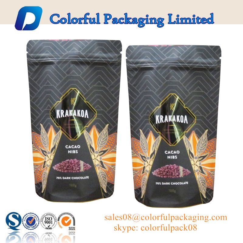 2016 Resealable plastic matte black stand up pouch snack packing bag food packaging for nuts from shenzhen