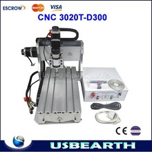 300W DC power spindle motor cnc router 3020 T-D300 cnc engraving machine,