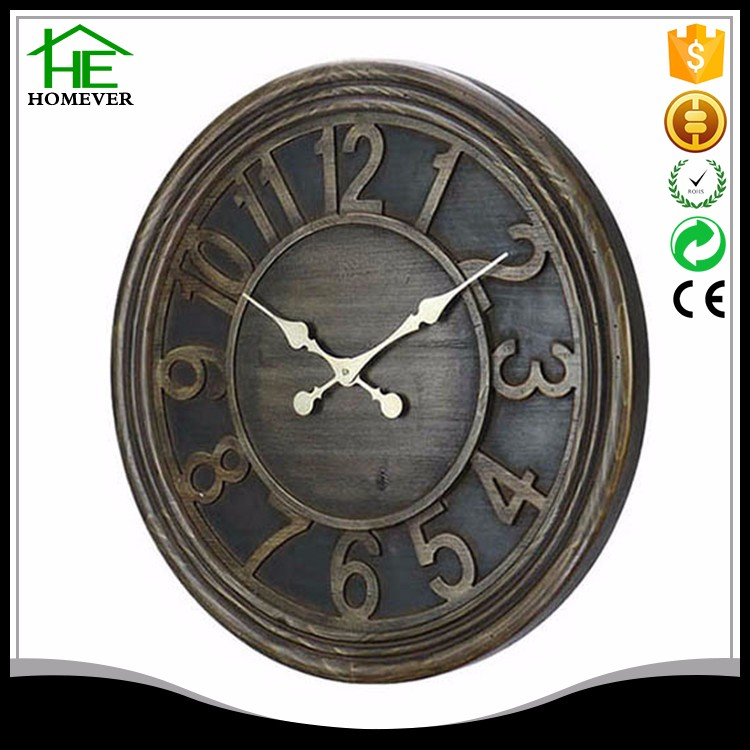 Best selling wooden frame large wall clock manufacture