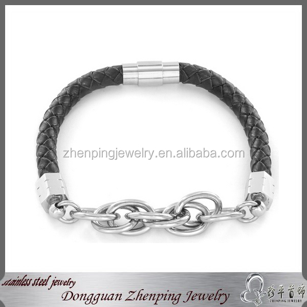 Fancy Woven Leather Link Bracelet Jewelry