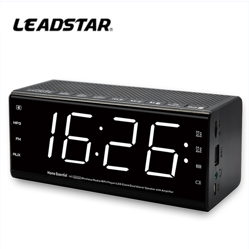 Bluetooth clock radio with headphone jack and music playing function